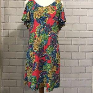 MSK Blue Coral Floral Cold Shoulder Shift Dress
